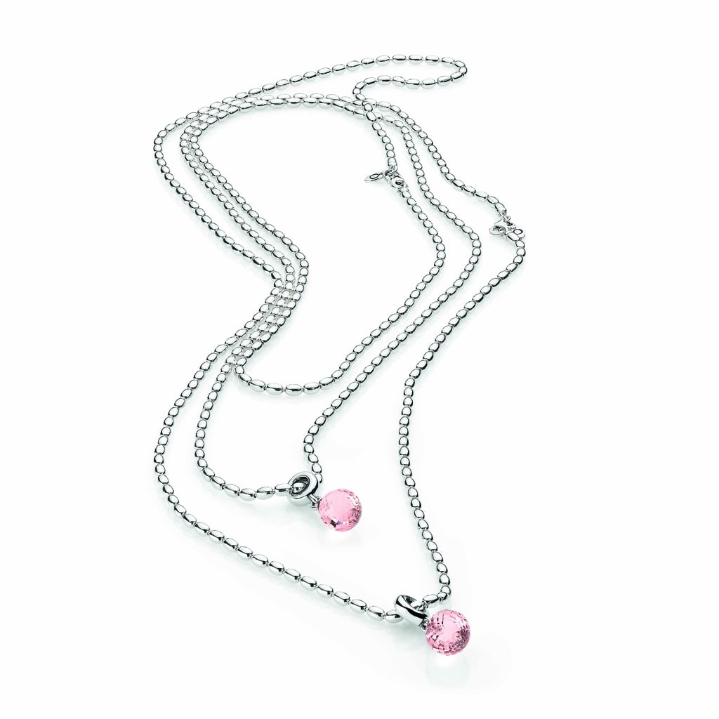 Sterling silver necklace chains, from $175 each, pink faceted Murano glass pendants, $55 each.