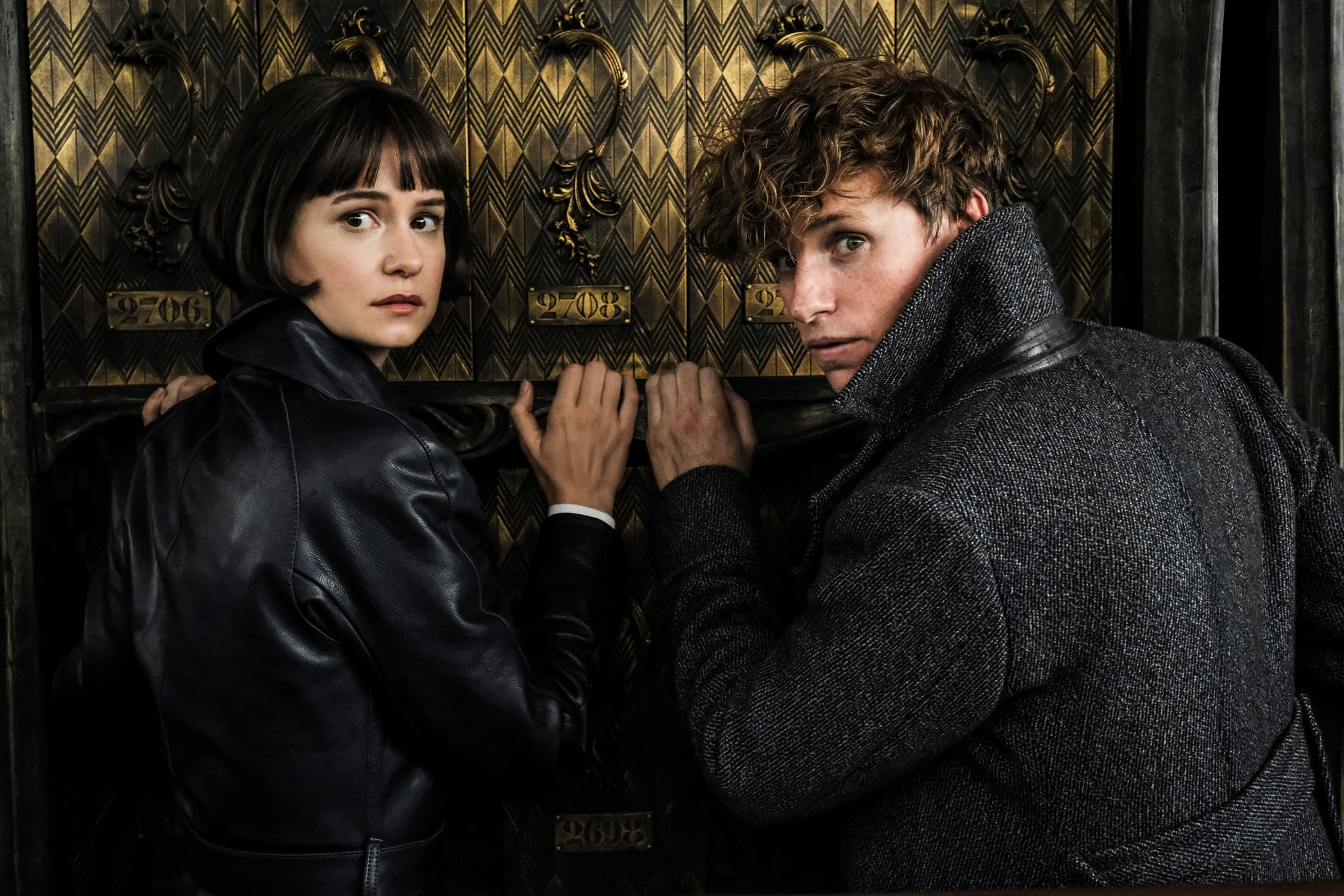 FANTASTIC BEASTS: THE CRIMES OF GRINDELWALD, from left: Katherine Waterston, Eddie Redmayne, 2018. ph: Jaap Buitendijk / 2018 Warner Bros. Ent. All Rights Reserved.Wizarding WorldTM Publishing Rights  J.K. Rowling WIZARDING WORLD and all related characters and elements are trademarks of and  Warner Bros. Entertainment Inc. /Courtesy Everett Collection