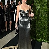 After the party (OK, award show), it's the after-party, right? Jennifer glimmered just as much as her award at the Vanity Fair after-party in her Calvin Klein gown.