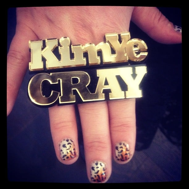 "Kim Kardashian took the Kimye moniker to a whole new level with a personalized ""KimYe"" ring.  Source: Instagram user kimkardashian"