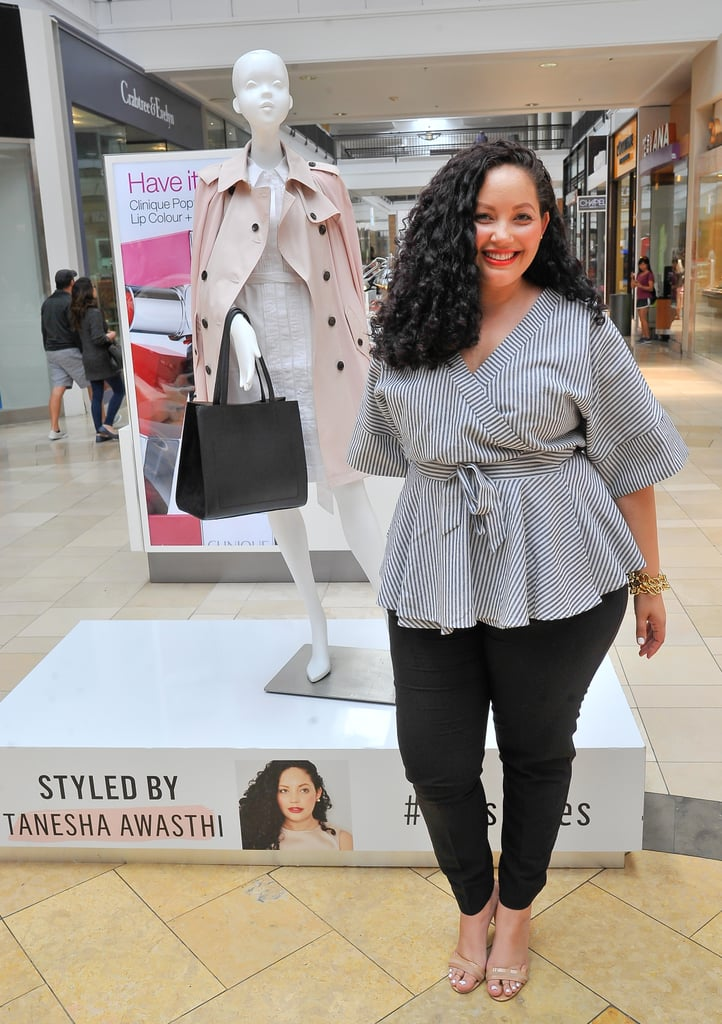 Curvier women are blessed with . . . curves! Highlight these qualities by choosing a top that cinches in the smallest part of your waist and then flares out — like a peplum design. A nice pair of fitted skinny jeans can also show off your best assets — just look to blogger Tanesha Awasthi for the proof.