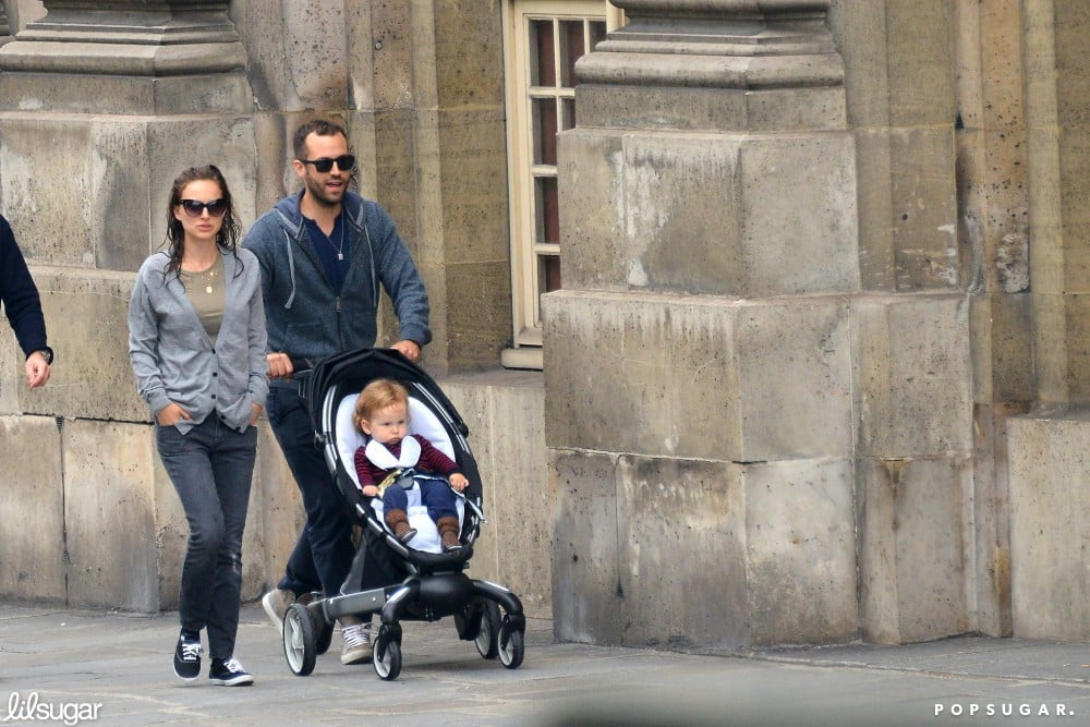 Natalie Portman walked beside husband Benjamin Millepied as he pushed their son, Aleph, in a stroller in Paris.