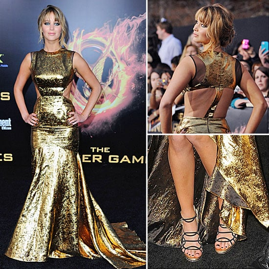 Jennifer Lawrence Gold Gown at Hunger Games Premiere