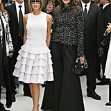 Victoria Beckham and Katie Holmes made a statement when they attended Paris Fashion Week together in October 2006.