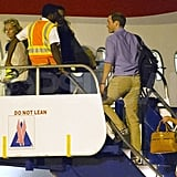 Kate Middleton, Prince William, and Pippa Middleton boarded a British Airways jet.