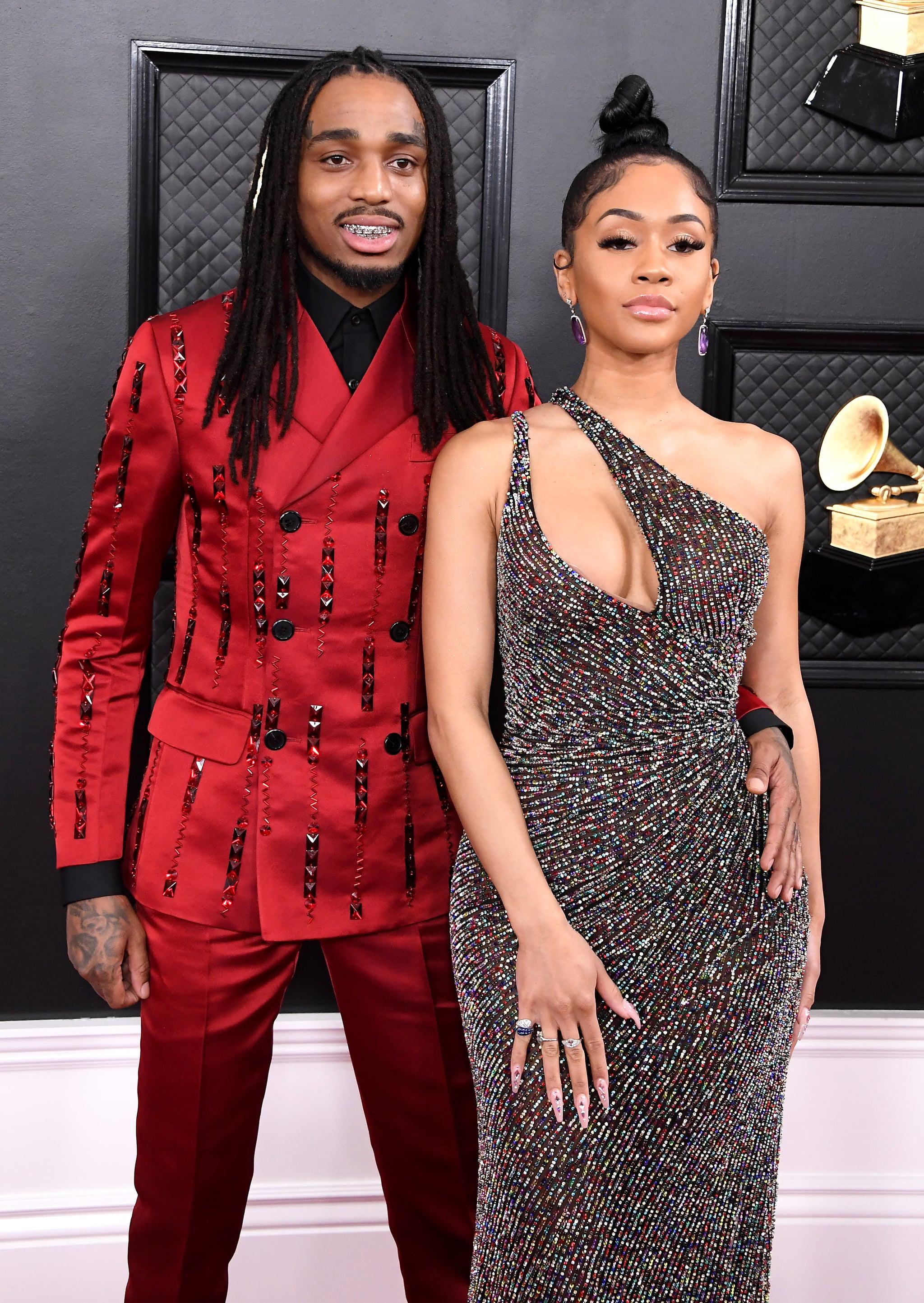 LOS ANGELES, CALIFORNIA - JANUARY 26: (L-R) Quavo and Saweetie attend the 62nd Annual GRAMMY Awards at Staples Center on January 26, 2020 in Los Angeles, California. (Photo by Steve Granitz/WireImage)