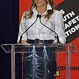 Melania Trump Blue Calvin Klein Skirt