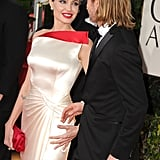 Angelina Jolie and Brad Pitt held hands at the January 2012 Golden Globe Awards.