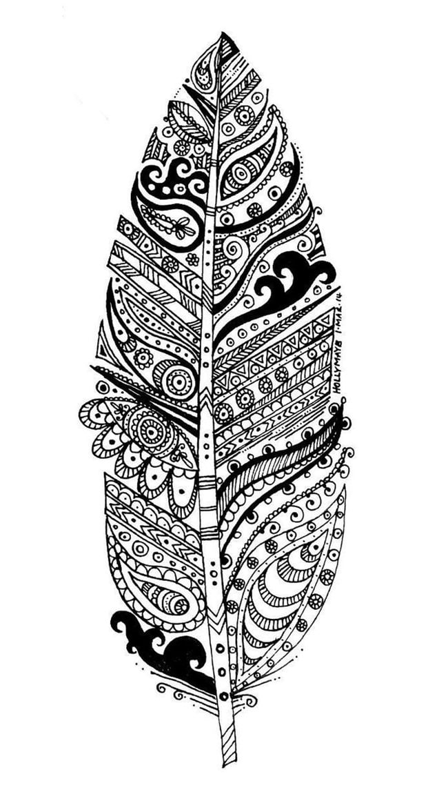 Get The Coloring Page Feather 50 Printable Adult Coloring