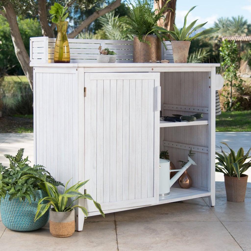 Belham Living Brighton Beach Wood Potting Bench Cabinet