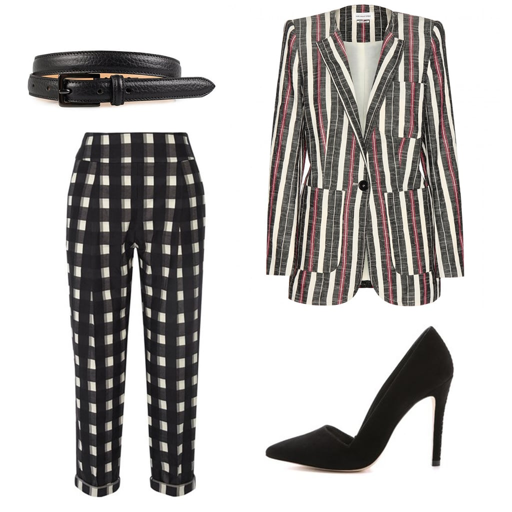Pants, $787, Temperley London at Net-a-Porter; jacket, $628, Isabel Marant Etoile at mytheresa.com; pumps, $389, alice+olivia at Shopbop; belt. $93, Tiger of Sweden at Nelly