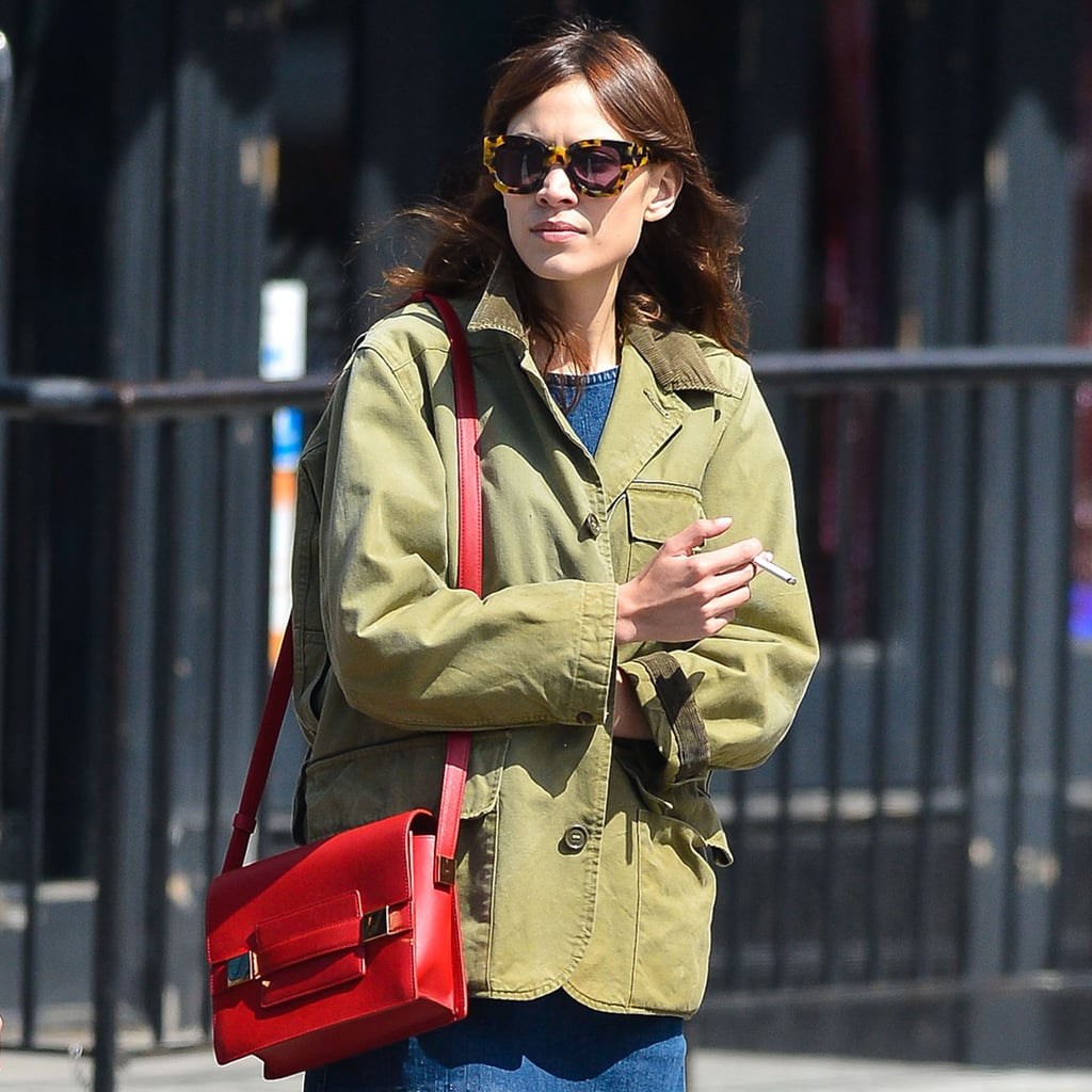 Alexa Chung Carrying Red Bag | Pictures