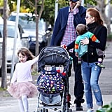 Isla Fisher, Sacha Baron Cohen, Elula Cohen, and Olive Cohen enjoyed the nice weather in Sydney.