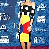 Zendaya wasn't afraid to mix prints in this graphic Sergio Hudson dress at the 2015 Essence Black Women in Music celebration.