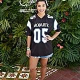 Hannah Bronfman wearing a Rodarte jersey and denim skirt at the POPSUGAR x CFDA brunch.