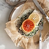 Halibut With Coconut Creamed Kale and Quinoa en Papillote
