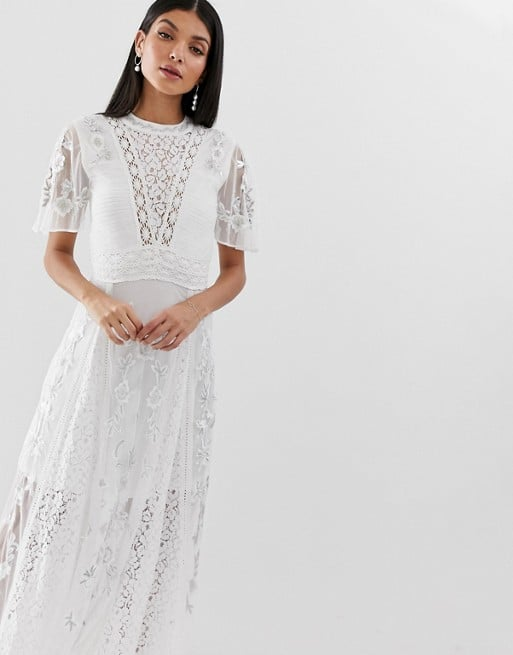 Amelia Rose Tall Embroidered Lace Front Maxi Dress