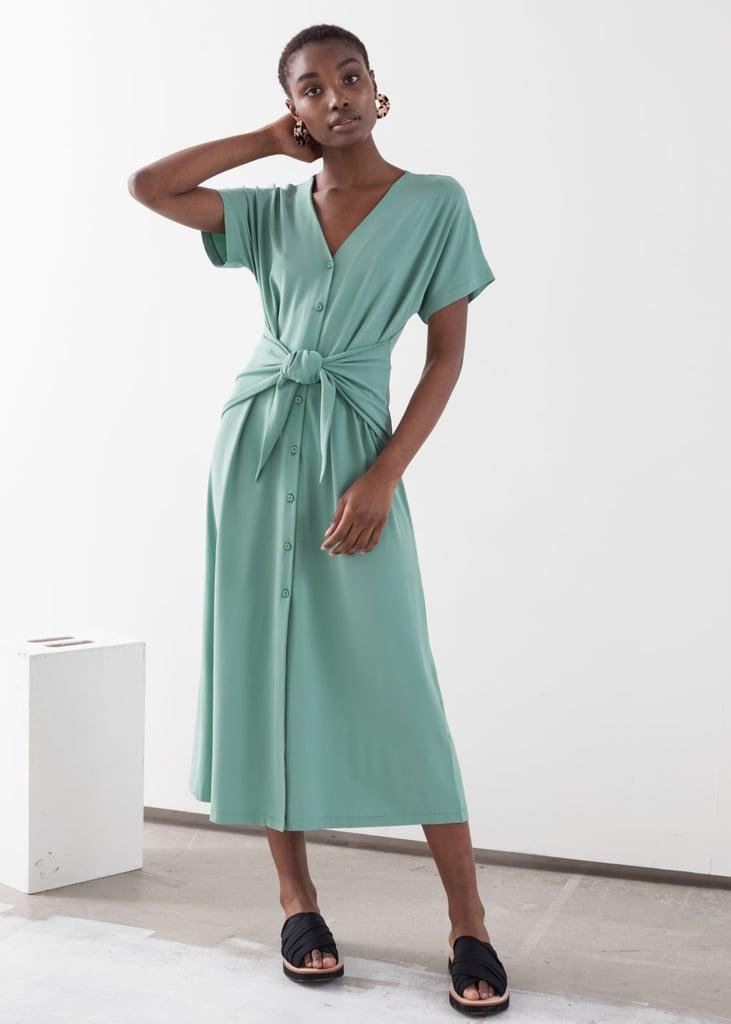 & Other Stories Waist Tie Midi Dress