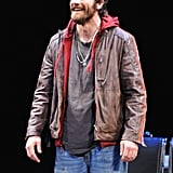 Jake Gyllenhaal took the stage in a leather jacket.