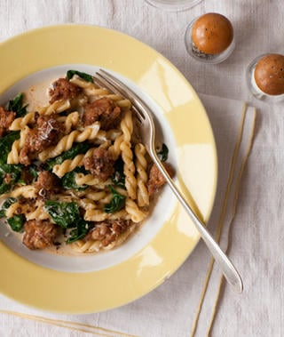Gemelli With Spicy Sausage and Spinach Recipe