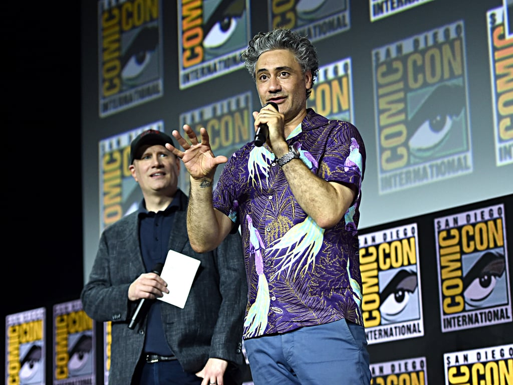 Pictured: Kevin Feige and Taika Waititi at San Diego Comic-Con.