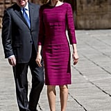 Paired with: pale purple pumps to complement the pleated fuchsia color of the dress
