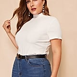 Shein Mock-Neck Slim Fitted Tee