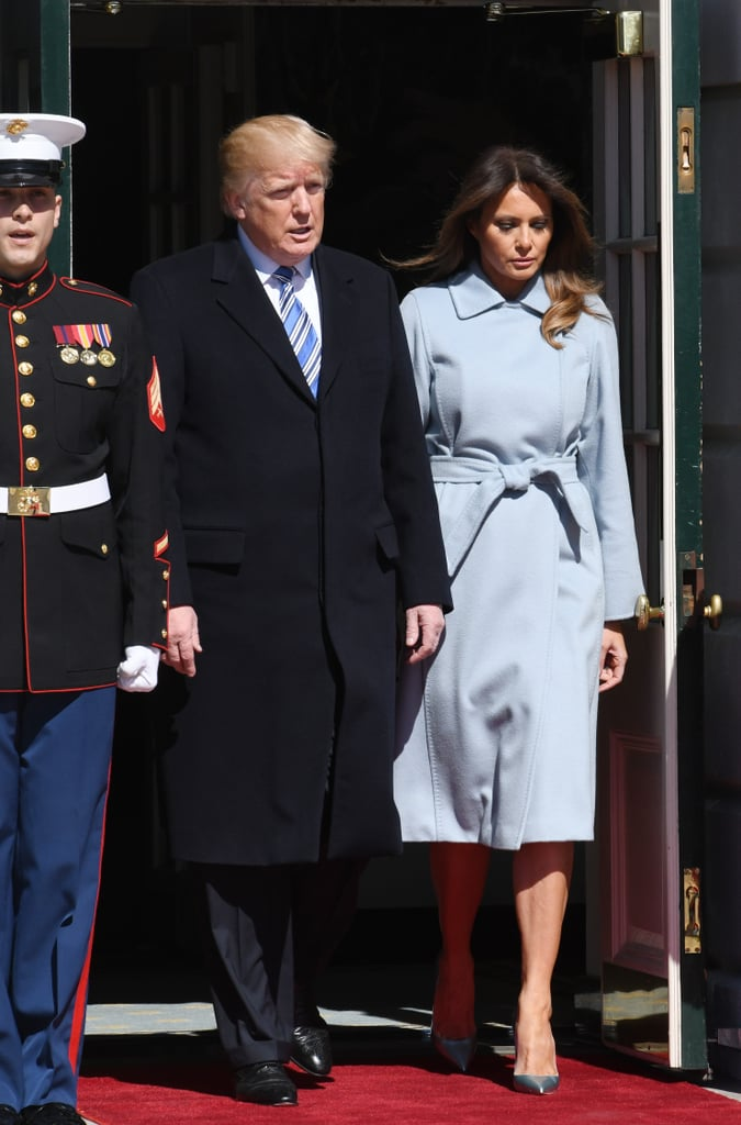 President Donald Trump and Melania greeted Israel Prime Minister Benjamin Netanyahu and Sara Netanyahu on March 5 at the White House. Melania covered up in a pastel blue Max Mara belted coat. She wore her usual go-to shoes: a pair of Christian Louboutins.