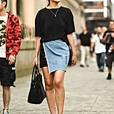 For denim skirts that make a statement on their own, keep the top as simple as possible.