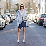 Opt For an Oversize Denim Jacket and Silver Mules