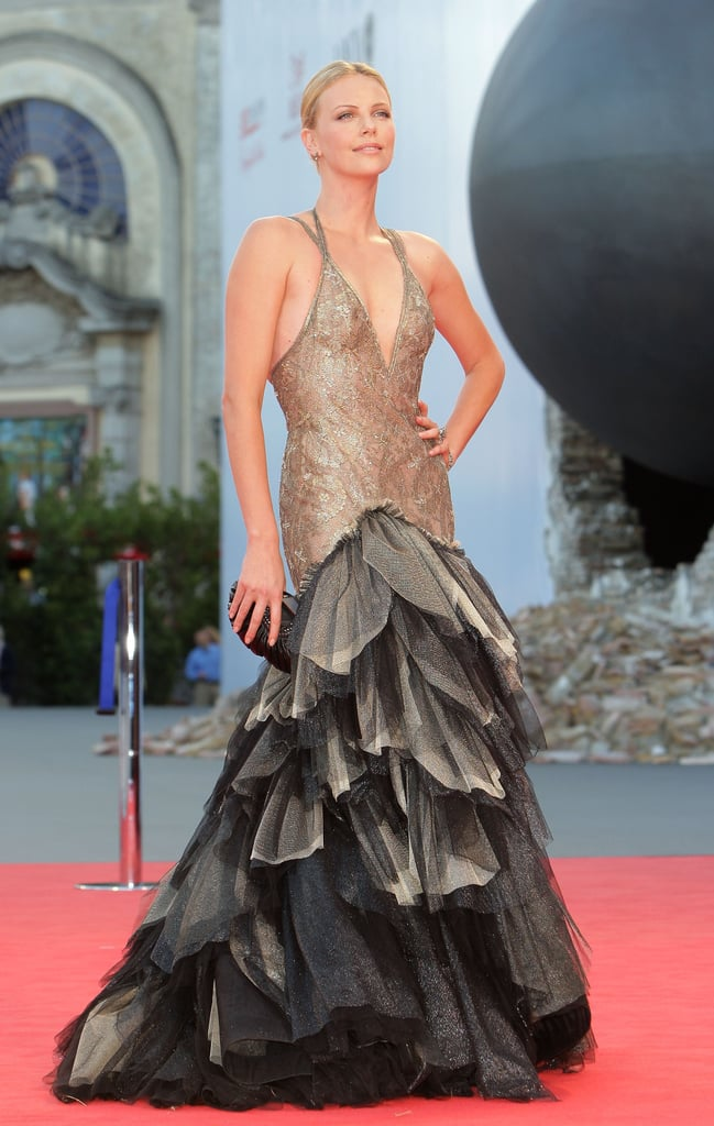 Charlize Theron in Versace at the Venice Film Festival ...