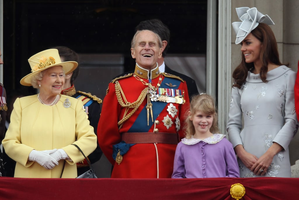 Philip marvelled at the air show with his granddaughter Lady Louise Windsor and Kate Middleton during the Trooping the Colour ceremony in June 2012.