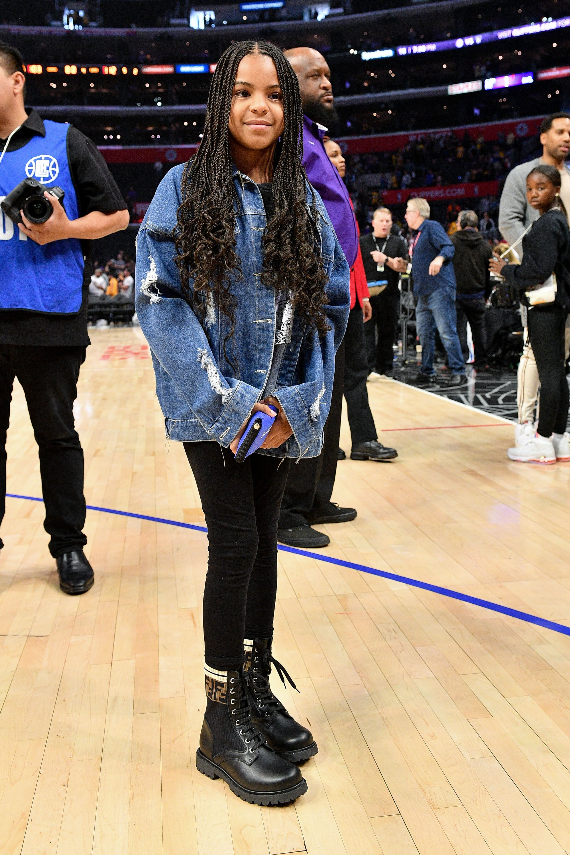 LOS ANGELES, CALIFORNIA - MARCH 08: Blue Ivy Carter attends a basketball game between the Los Angeles Clippers and the Los Angeles Lakers at Staples Center on March 08, 2020 in Los Angeles, California. (Photo by Allen Berezovsky/Getty Images)