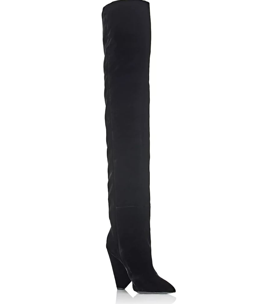 Saint LaurentPoint Toe Suede Over-The-Knee Boots ntcFB8