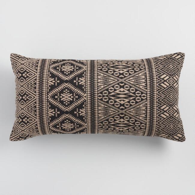 Oversized Black Jacquard Indoor Outdoor Lumbar Pillow