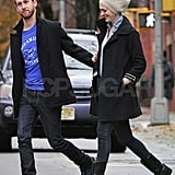 Engaged Anne Hathaway and Adam Shulman out in NYC.