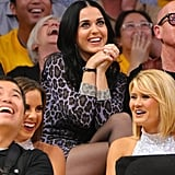 Katy Perry wore purple leopard print at the Lakers game.