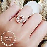 Morganite Halo Engagement Ring