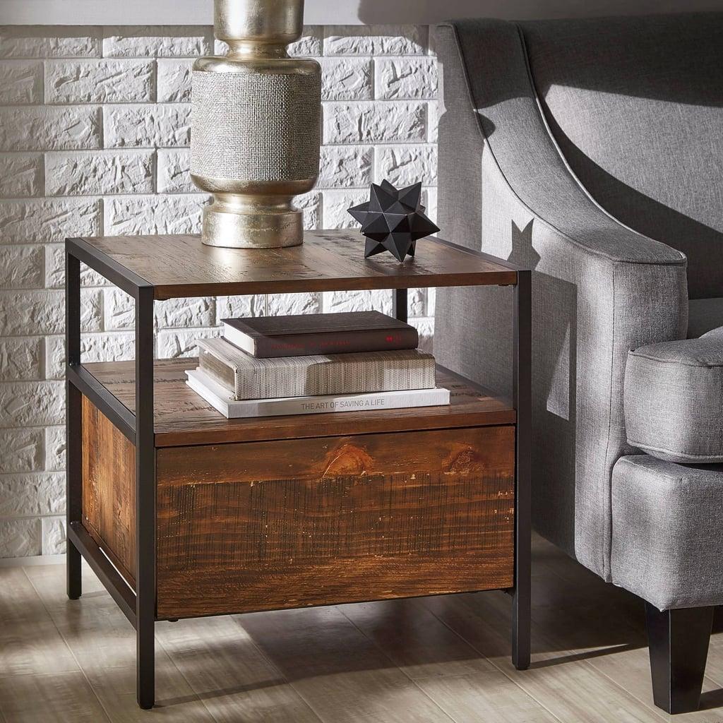 Felicia Rustic Industrial Metal/Wood End Table
