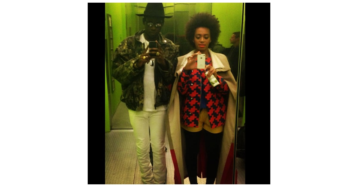Solange knowles took selfies in an elevator with Theophilus london fashion style