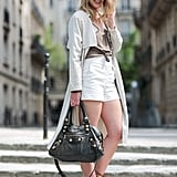 White shorts with a duster coat