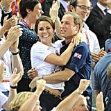 Kate Middleton and Prince William embraced when Team GB won gold for men's sprint track cycling.