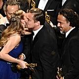 Leo Got a Friendly Peck From Best Actress Winner Brie Larson