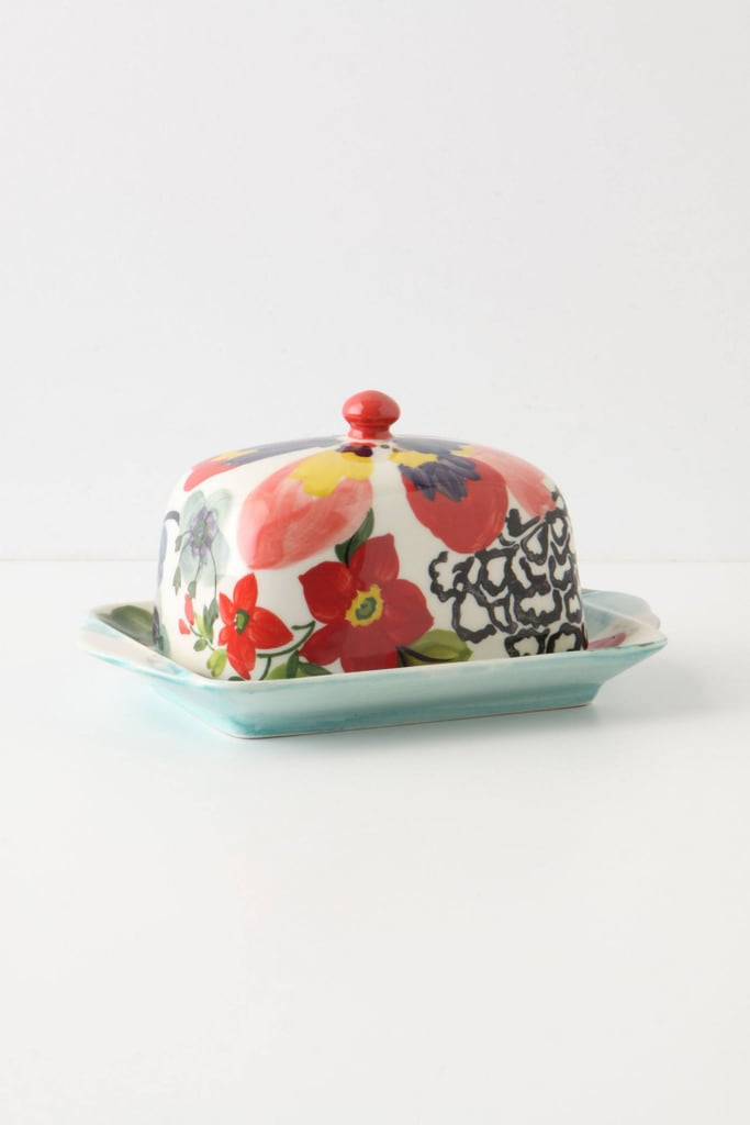 Anthropologie Painted Amaryllis Butter Dish Good Looking