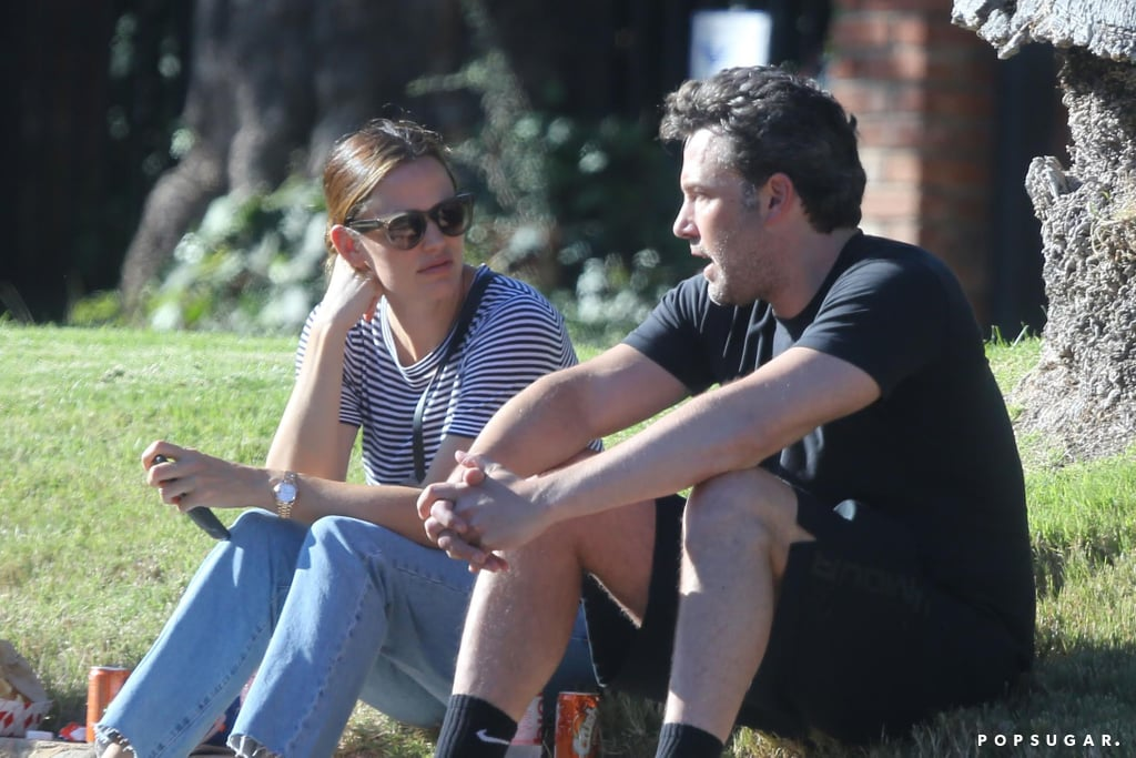 Ben Affleck and Jennifer Garner took their kids to their neighborhood block party in LA on Sunday. The estranged couple appeared to be having a deep conversation as they grabbed carnival food and went on rides with their children. Jennifer kept things casual in jeans and a striped tee, and Ben opted for basketball shorts and a black shirt. While the pair's divorce may still be on, Ben and Jennifer are determined to maintain a united front for the sake of their kids. After ringing in Ben's birthday with a family trip to Montana, the actor took his eldest daughter, Violet, to see the London play Harry Potter and the Cursed Child, and earlier this month, the two got together for their children's first day of school.         Related:                                                                11 Things Ben Affleck and Jennifer Garner Have Said About Each Other Since Their Split                                                                   25 Photos of Jennifer Garner Looking Unbothered Since Her Breakup With Ben                                                                   All the Times Ben and Jen Have Been Spotted Together Since Their Split
