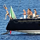 Bikini-clad Bar jumped from the yacht.