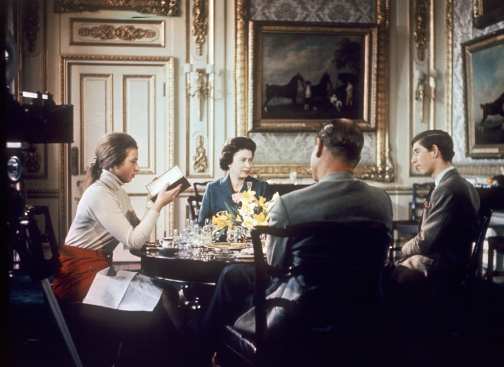 The family sat together for lunch at Windsor Castle in 1969.