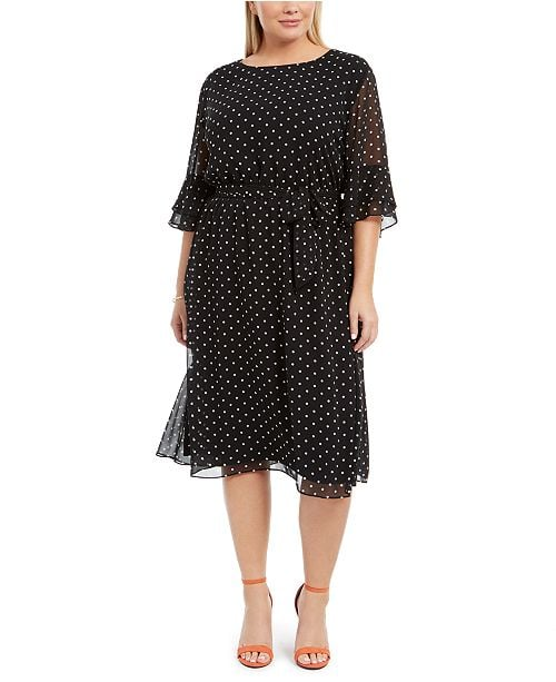 Anne Klein Printed Bell-Sleeve A-Line Dress