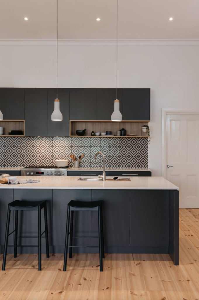"Whether tribal or handmade-looking, tiles that add a handcrafted touch to an otherwise sleek and modern kitchen are on the rise. It takes modern kitchens, which were on the verge of looking like spacecrafts, back to that ""heart of the home"" space. Bang on for the hygge trend."