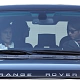 Mila Kunis sat in the backseat while Ashton Kutcher sat in the front on the way to see The Dark Knight Rises in LA.